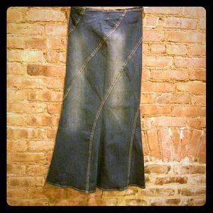 Denim Maxi Mermaid Skirt--Jeans Skirt